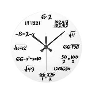 Horloge murale avec équations mathématiques