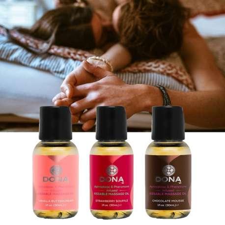 Huile de massage aphrodisiaque parfumée (3 tubes) relaxation zen