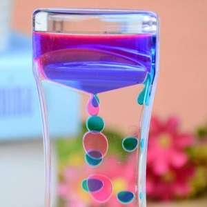 Sablier transparent à liquide bicolore bulle temps original