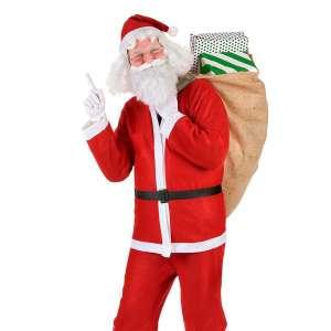 Costume Père Noël : 1 bonnet, 1 veste, 1 pantalon, 1 ceinture
