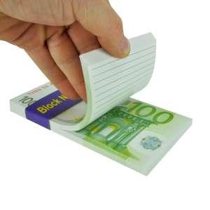 Bloc notes en forme de billets 100 euros avec 80 feuilles