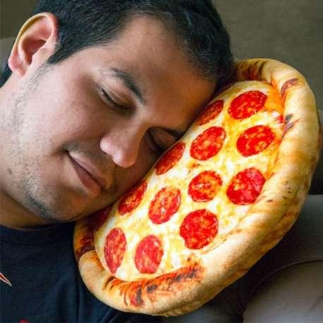 Coussin en forme de pizza pepperoni toucher velours tout doux