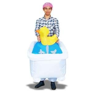 Costume gonflable homme dans son bain avec son canard