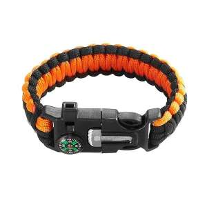 Bracelet de survie ajustable avec boussole sifflet et lame