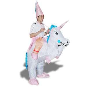 Costume de magicien à dos de licorne gonflable déguisement