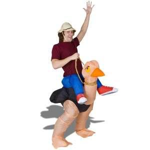 Costume aventurier à dos d'autruche gonflable déguisement