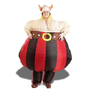 Déguisement gonflable Viking costume avec chapeau à cornes
