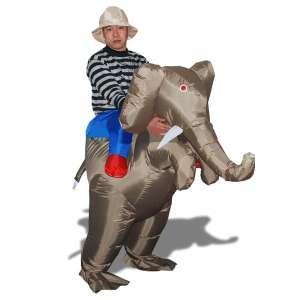 Costume éxplorateur sur le dos d'éléphant déguisement avec chapeau