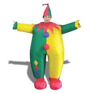 Déguisement clown multicolore gonflable costume avec chapeau