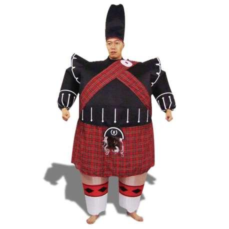 Déguisement de garde écossais gonflable costume avec chapeau