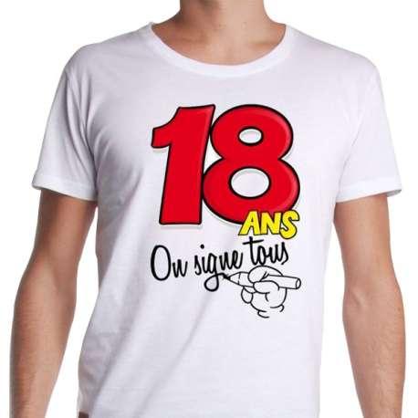 Tee-shirt 18 ans à dédicacer avec stylo feutre