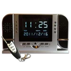Réveil camera espion télécommandé, infrarouge et détection mouvem
