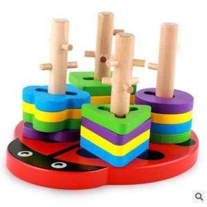 Casse-tête à empiler support en bois coccinelle jeu montessori