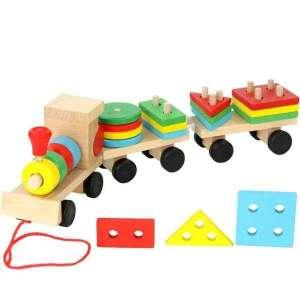 Train en bois avec formes géométriques à empiler jeu montessori