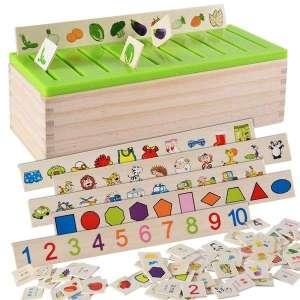 Boîte en bois pour tri des formes et objets système jeu montessori