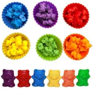 Oursons colorés pour mathématiques et tri de couleurs jeu Montessori