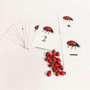Coccinelles12 cartes pour apprendre les mathématiques jeu Montessori