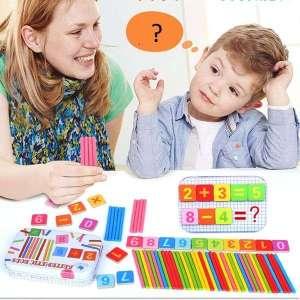 Coffret de cartons et de bâtonnets apprendre les maths jeu Montessori
