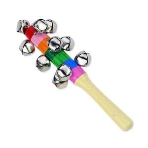 Hochet à grelots en bois coloré jeu Montessori
