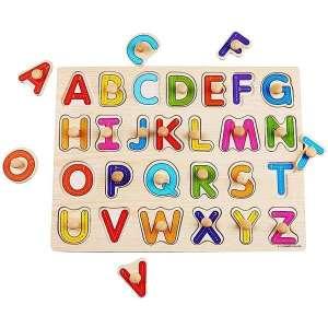 Puzzle lettres de l'alphabet en majuscule en bois jeu Montessori