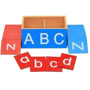 Lettres de l'alphabet en bois rugueuses jeu Montessori