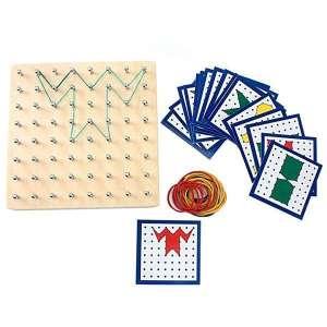 Planche à clous et élastique reproduction de modèles jeu montessori