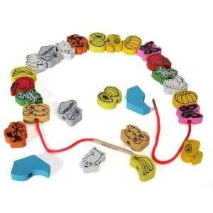 Perles avec motifs à enfiler avec 2 lacets Montessori
