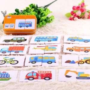 Boîte de jeu de cartes puzzle à assembler véhicules jeu Montessori