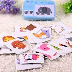 Boîte de jeu de cartes puzzle à assembler animaux jeu Montessori