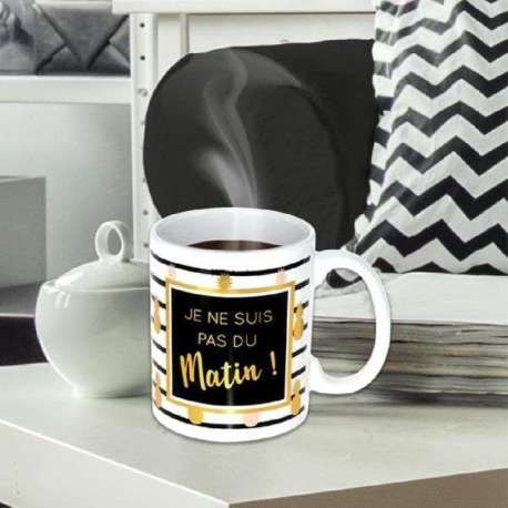 Mug je ne suis pas du matin tasse humoristique