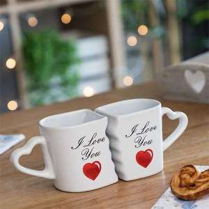 2 Mugs pour couple I Love You tasses cœur qui s'emboîtent