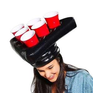2 chapeaux Gonflables jeu Beer Pong avec Gobelets et Balles