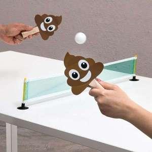 Jeu ping pong de bureau avec raquettes émoji crottes