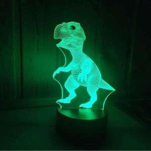 Veilleuse dinausaure T-rex effet 3D lampe changement de couleur