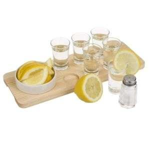 Service à tequila planche en bois et 6 verres shooter