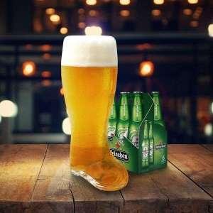 Chope de bière en forme de botte taille XXL verre de 2 litres