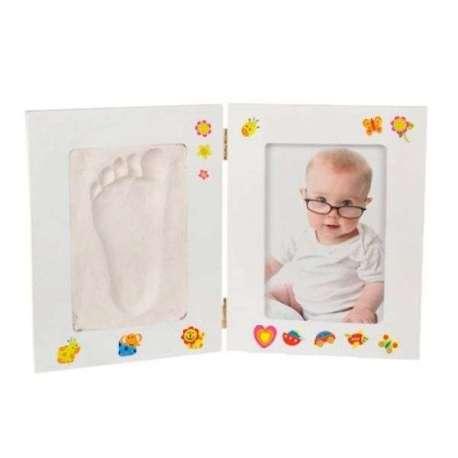 Cadre photo avec kit de moulage pour empreintes bébé