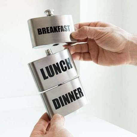 Flasque 3 compartiment en métal breakfast lunch dinner