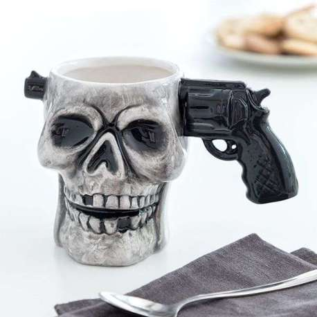 Tasse tête de mort Mug anse pistolet en céramique
