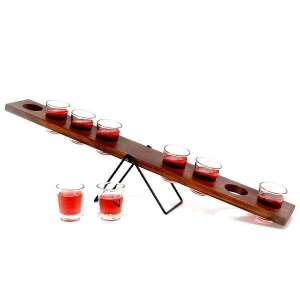 Jeu à boire bascule en bois avec 8 verres à shot
