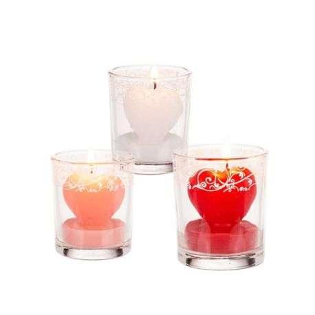 2 Bougies décoratives coeurs en verre