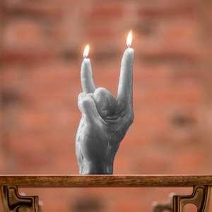 Grande bougie XXL main faisant le signe des cornes rock n roll XL