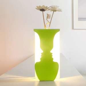 2 en 1 Lampe décorative en forme de deux visages et vase pour fleur