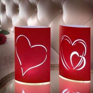 Lot de 2 Lampions LED coeurs lampe