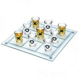 Morpion à boire en verre avec 9 verres shooter