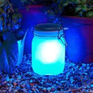 Jar bocal solaire 2 couleurs d'éclairage bleu ou jaune