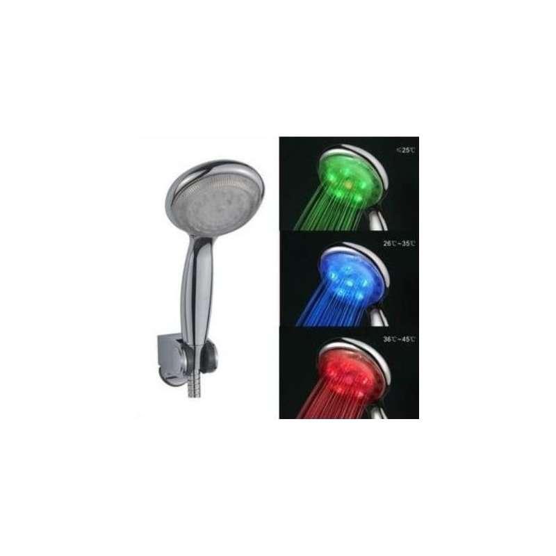 Pommeau de douche led 3 couleurs lumineux totalcadeau for Pommeau de douche exterieur