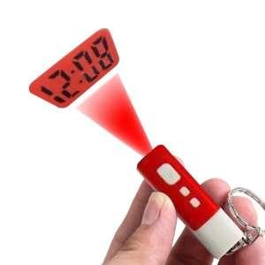 Porte-clés torche projection heure horloge