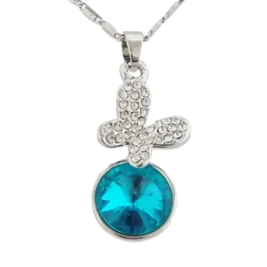 Collier pendentif papillon en strass et fausse pierre bleu turquoise - Fausse pierre precieuse ...