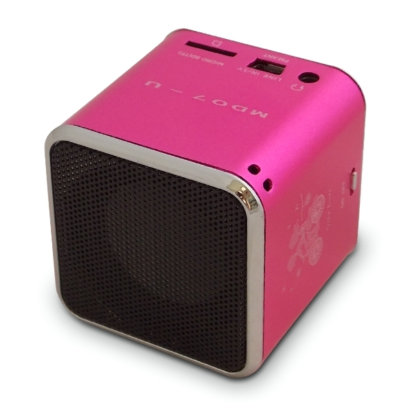 mini enceinte haut parleur cube mp3 sd radio usb rose ebay. Black Bedroom Furniture Sets. Home Design Ideas